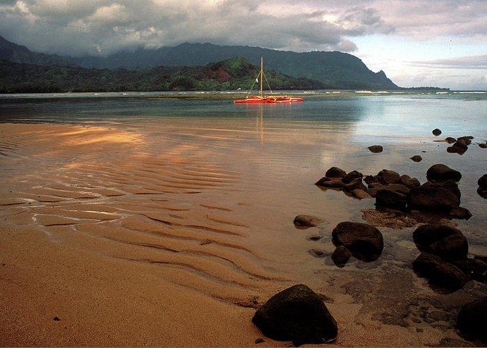 Kauai Photos Greeting Card featuring the photograph Hanalei Bay At Dawn by Kathy Yates