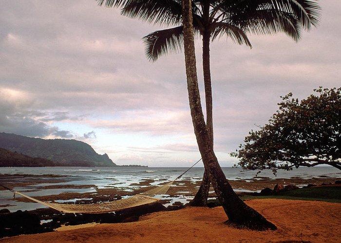 Kauai Photos Greeting Card featuring the photograph Hanalei Bay Hammock At Dawn by Kathy Yates