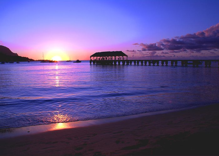 Hanalei Bay Pier Sunset Seascape Kauai Hawaii Greeting Card featuring the photograph Hanalei Bay Pier Sunset by Brian Harig