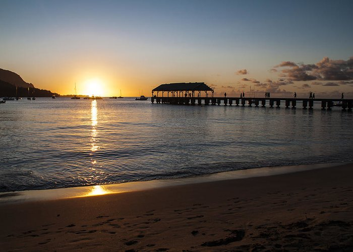 Hanalei Bay Pier Sunset Seascape Kauai Hawaii Hi Greeting Card featuring the photograph Hanalei Bay Sunset by Brian Harig