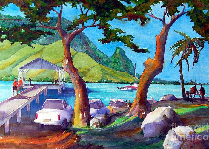 Hanalei Greeting Card featuring the painting Hanalei Pier by Jerri Grindle