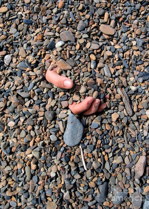 Bizarre Greeting Card featuring the photograph Hand In Gravel by Stephan Pietzko