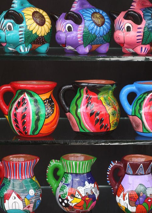 Mexico Greeting Card featuring the photograph Hand Painted Ceramics Playa Del Carmen Mexico by Lee Vanderwalker
