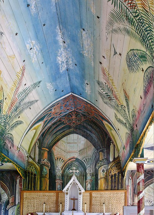 Hawaii Greeting Card featuring the photograph Hand Painted Church Interior by Linda Phelps