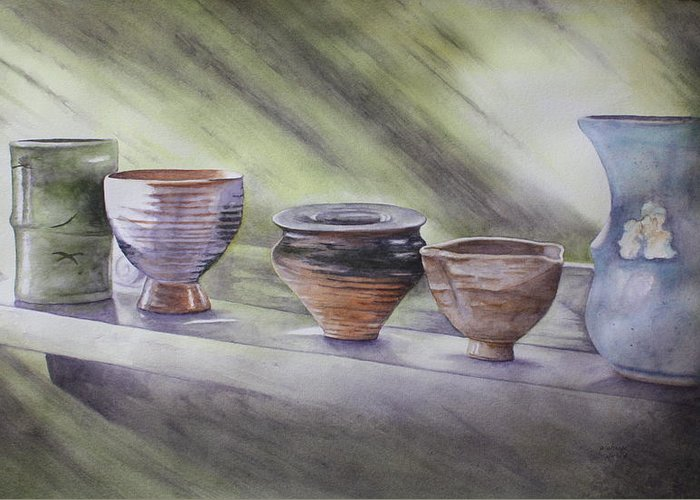 Hand Thrown Pottery Paintings Greeting Cards