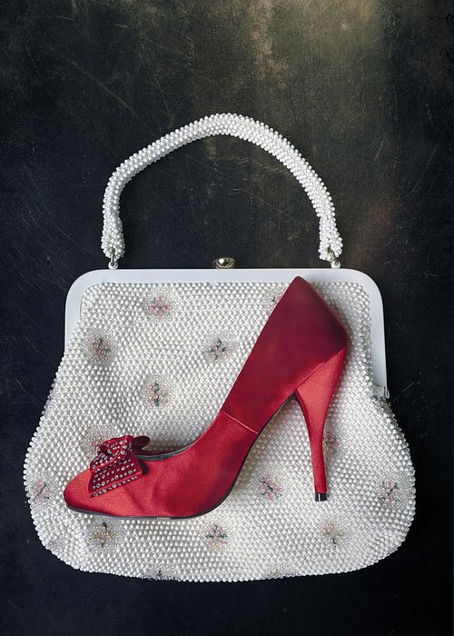 Shoe Greeting Card featuring the photograph Handbag With Stiletto by Joana Kruse