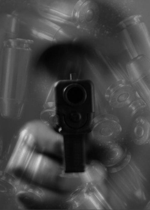 Handgun And Ammunition Greeting Card featuring the photograph Handgun And Ammunition by Dan Sproul