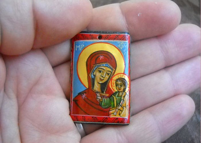 Virgin Mary Greeting Card featuring the painting Handmade Miniature Icon Virgin Mary With Child Jesus by Denise Clemenco