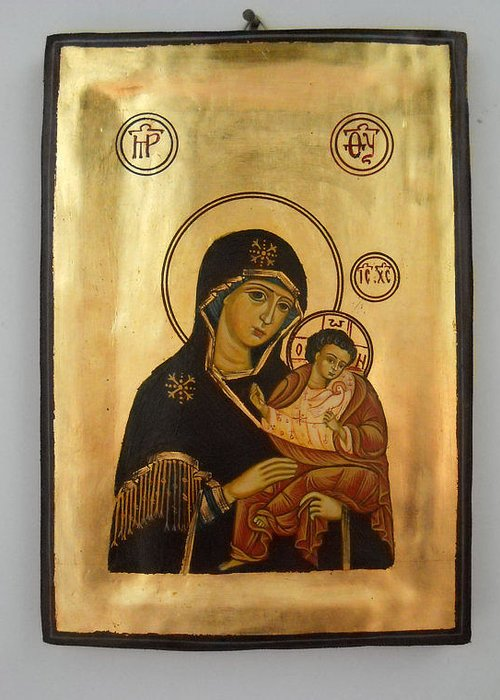 Religious Icons Greeting Card featuring the painting Handpainted Orthodox Holy Icon Madonna With Child Jesus by Denise Clemenco
