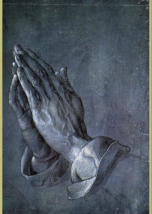 Albrecht Greeting Card featuring the painting Hands Of An Apostle 1508 by Philip Ralley