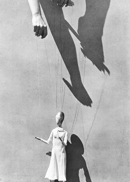 Marionette Greeting Card featuring the photograph Hands Of The Puppeteer, 1929 by Tina Modotti