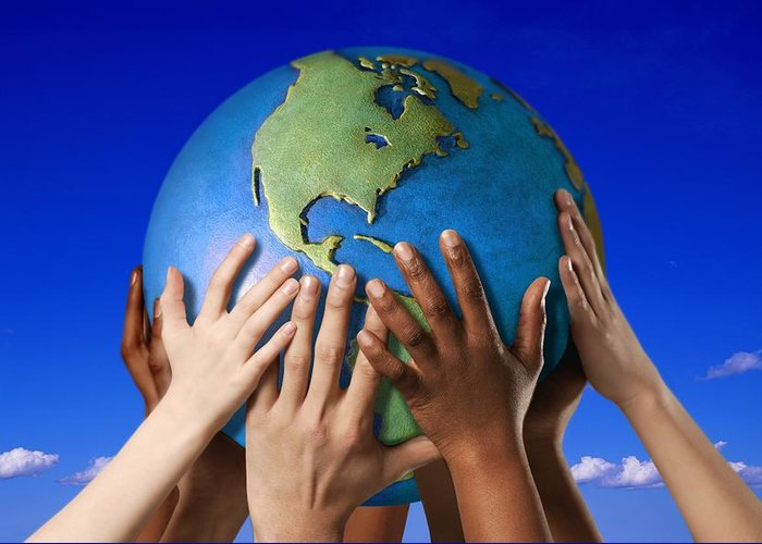 World In Your Hands Greeting Cards