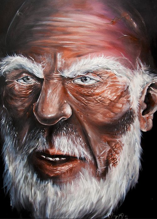 Old Man Age Time Wrinkle Portrait Life Death Decay Wise Wisdom Handsome Beautiful Elderly Aged Ancient Beard White Hair Warts Head Nose Painting Paint Canvas Skin Greeting Card featuring the painting Handsome Wisdom by Morgane Xenos