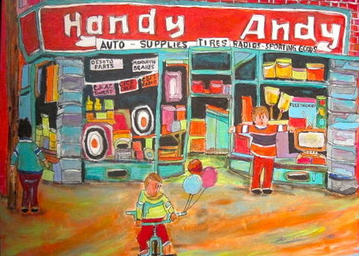 Handy Andy Greeting Card featuring the painting Handy Andy Montreal Memories by Michael Litvack