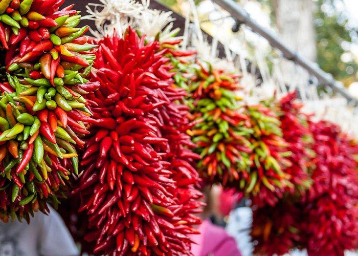 Chile Ristra Greeting Card featuring the photograph Hanging Chili Pepper Ristras At Farmers Market by Teri Virbickis