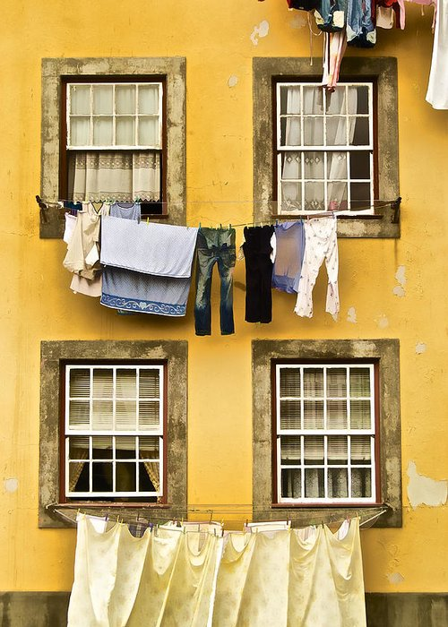 Art Greeting Card featuring the photograph Hanging Clothes Of Old World Europe by David Letts