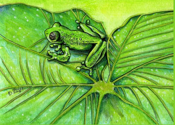 Frog Greeting Card featuring the painting Hanging Out By Richard Brooks. by Richard Brooks