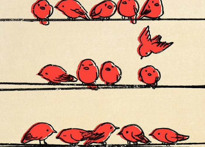 Red Drawings Greeting Cards