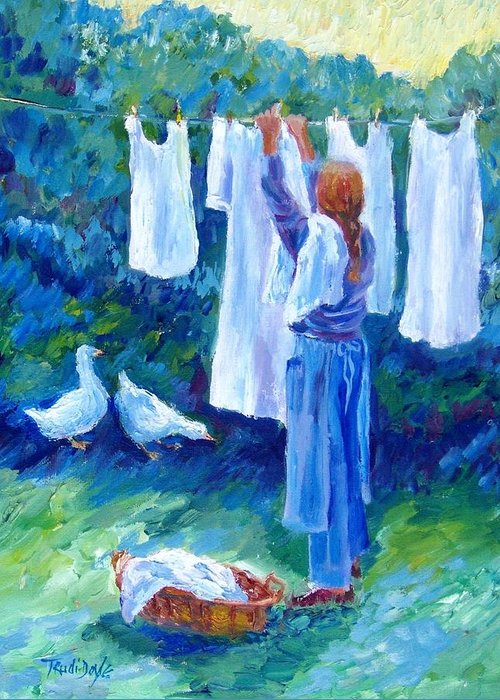 White Linen Greeting Card featuring the painting Hanging The Whites by Trudi Doyle
