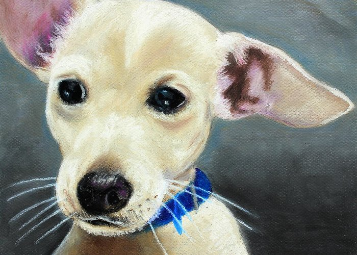 Mammal Greeting Card featuring the painting Hank by Jeanne Fischer