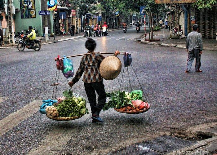 Vietnam Greeting Card featuring the photograph Hanoi Street Life II by Chuck Kuhn