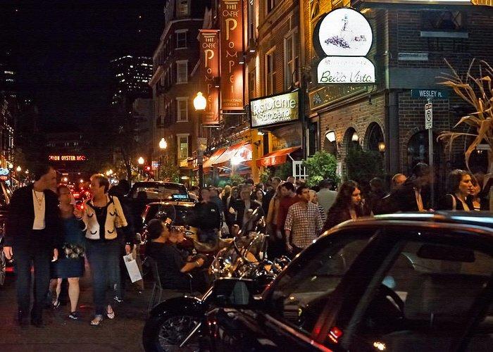 Boston Greeting Card featuring the photograph Hanover Street Nights - Boston by Joann Vitali