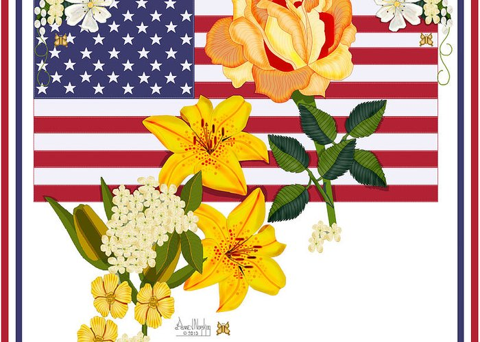 Old Glory Greeting Card featuring the painting Happy Birthday America 2013 by Anne Norskog