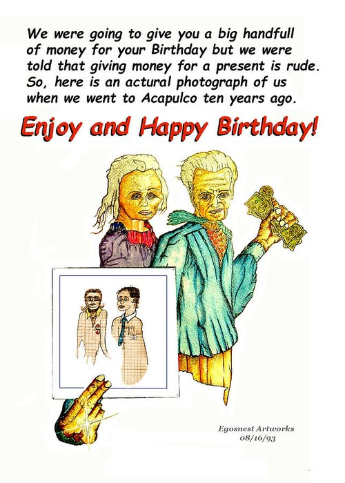 Birthday Greeting Card Featuring The Painting Happy Office Memo Employee By Michael Shone SR