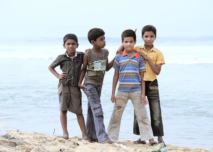 Back Greeting Card featuring the photograph Happy Children by Saju S