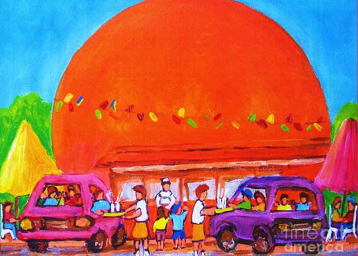 Montreal Greeting Card featuring the painting Happy Days At The Big Orange by Carole Spandau