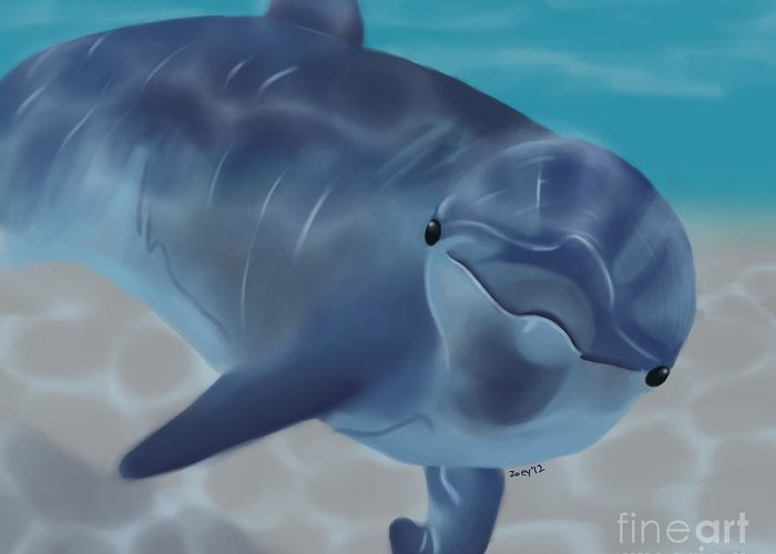 Dolphin Greeting Card featuring the digital art Happy Dolphin by Zoey Richards