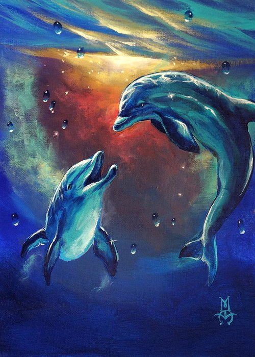Dolphins Greeting Card featuring the painting Happy Dolphins by Marco Antonio Aguilar