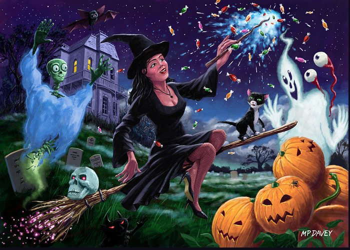 Halloween Greeting Card featuring the painting Happy Halloween Witch With Graveyard Friends by Martin Davey