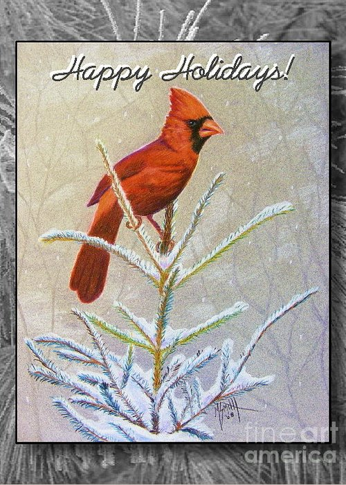 Christmas Card Greeting Card featuring the drawing Happy Holidays by Marilyn Smith