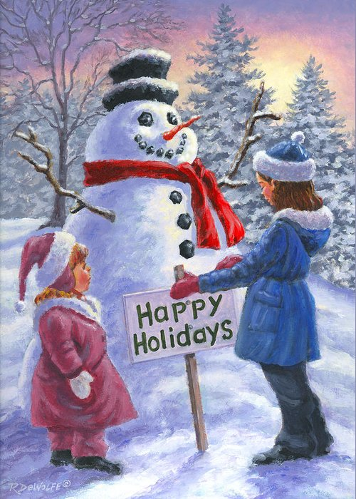 Children Greeting Card featuring the painting Happy Holidays by Richard De Wolfe