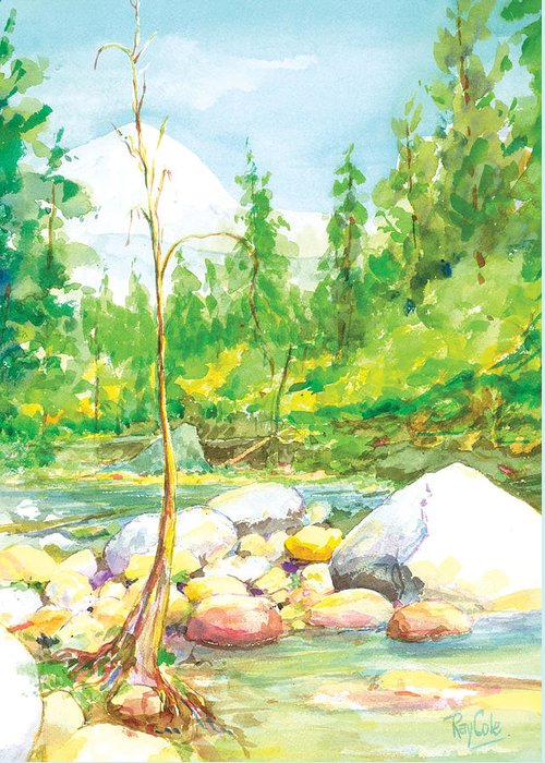 Creek Greeting Card featuring the painting Happy Isles by Ray Cole