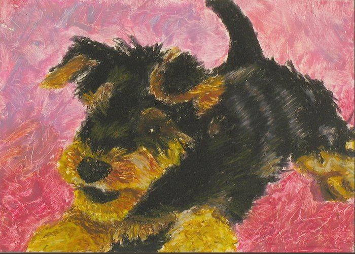 Mammal Greeting Card featuring the painting Happy by Jeanne Fischer