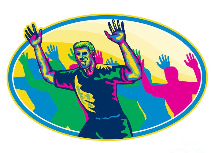 Marathon Greeting Card featuring the digital art Happy Marathon Runner Running Oval Retro by Aloysius Patrimonio