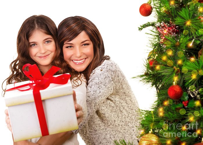 New Year Greeting Card featuring the photograph Happy Mother And Daughter On Xmas Eve by Anna Om