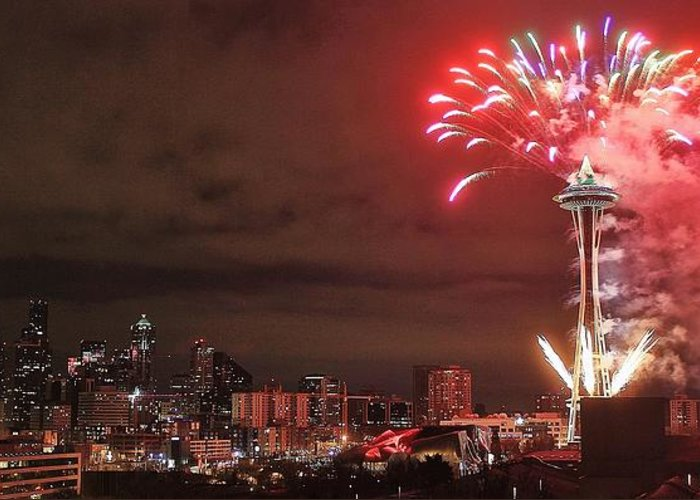 seattle greeting card featuring the photograph happy new year seattle by benjamin yeager