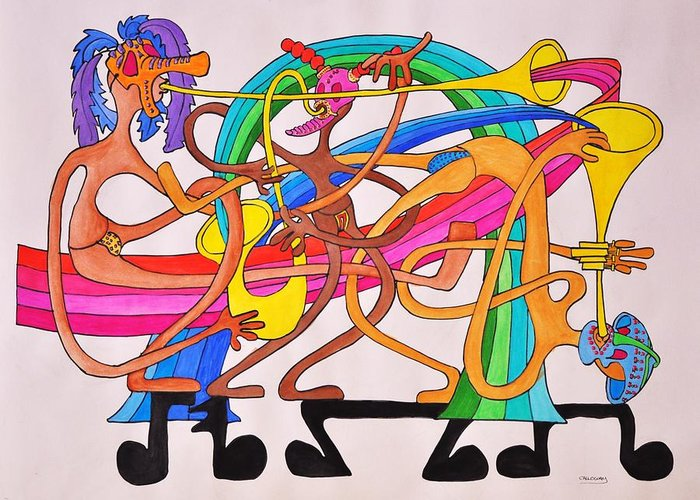 Happy Greeting Card featuring the drawing Happy People Horns by Glenn Calloway