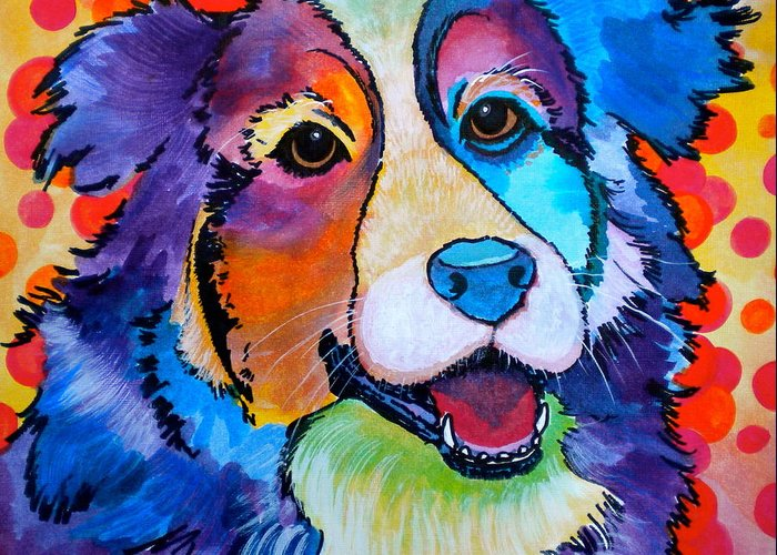 Dog Greeting Card featuring the painting Happy Scout by Debi Starr