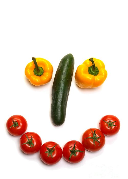 Vegetables Greeting Card featuring the photograph Happy Veggie Face by Olivier Le Queinec