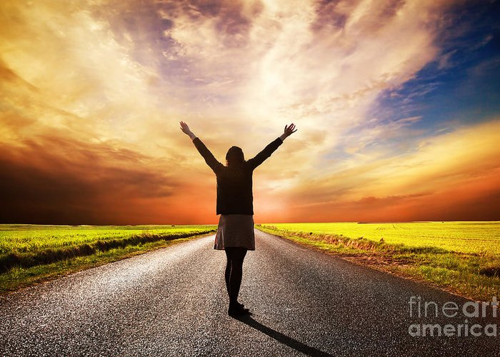 Road Greeting Card featuring the photograph Happy Woman Standing On Long Road At Sunset by Michal Bednarek