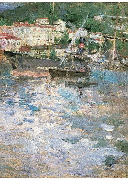 Berthe Morisot Greeting Card featuring the painting Harbor At Nice by Berthe Morisot