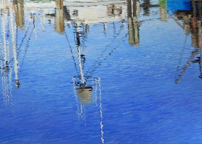 Reflections Greeting Card featuring the painting Harbor Reflections by Anna Lowther