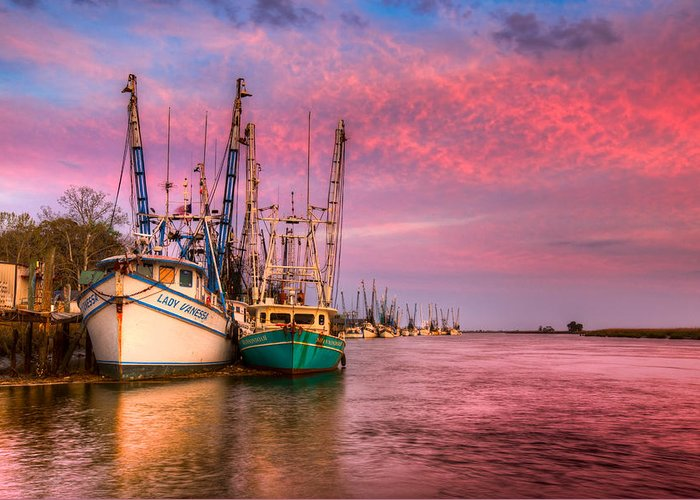 Boats Greeting Card featuring the photograph Harbor Sunset by Debra and Dave Vanderlaan