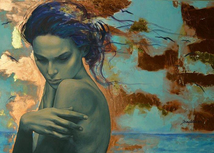 Fantasy Greeting Card featuring the painting Harboring Dreams by Dorina Costras