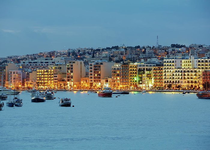 Hotel Greeting Card featuring the photograph Harbourside Of Sliema Illuminated At by Allan Baxter