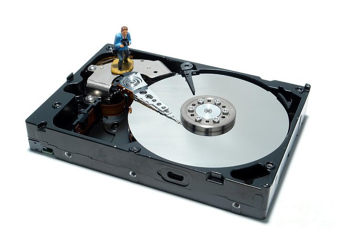Computer Greeting Card featuring the photograph Hard Drive Backup by Olivier Le Queinec